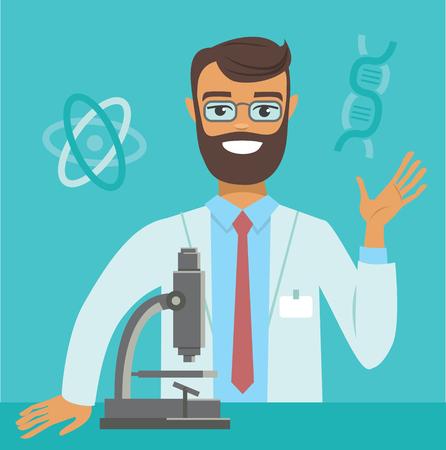 flat vector illustration of genome scientist working at lab Çizim
