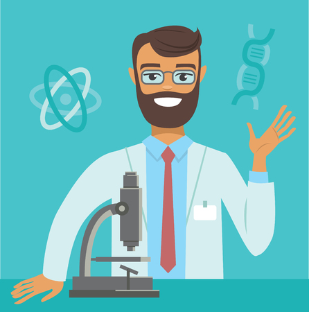 flat vector illustration of genome scientist working at lab Illustration