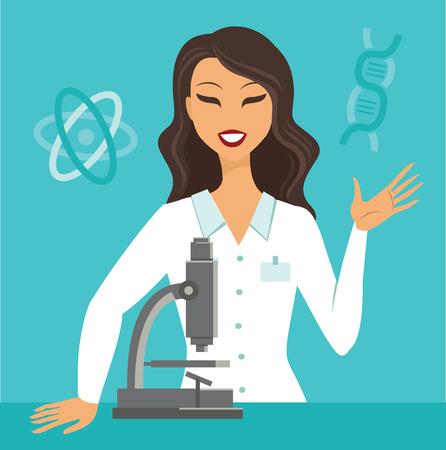 flache Vektorgrafik eines Wissenschaftlers, der im Wissenschaftslabor arbeitet?