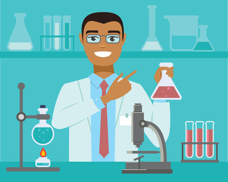 flat vector illustration of scientist working at science lab Ilustrace