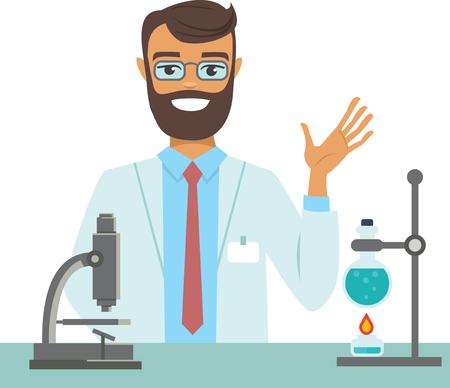 flat vector illustration of scientist working at science lab Çizim