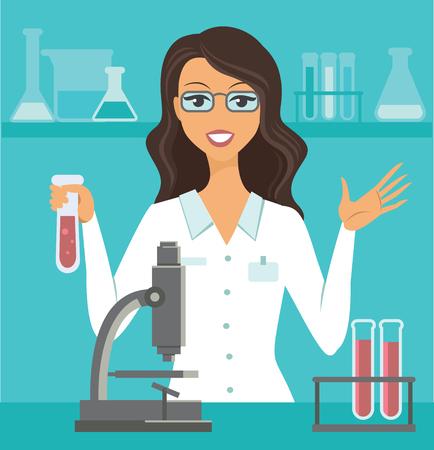 flache Vektorgrafik eines Wissenschaftlers, der im Wissenschaftslabor arbeitet? Vektorgrafik