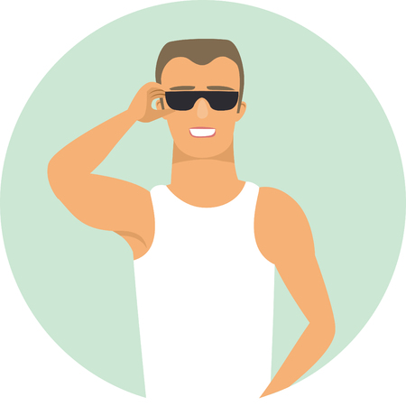 Pumped-up sport fitness young man wearing sunglasses. Flat vector character