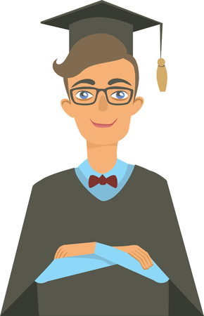 graduated young man student portrait isolated flat vector character Illustration
