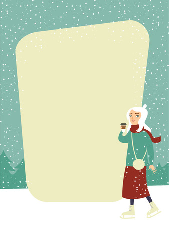 Ready template design with young girl drinking coffee on the winter ice rink Ilustrace