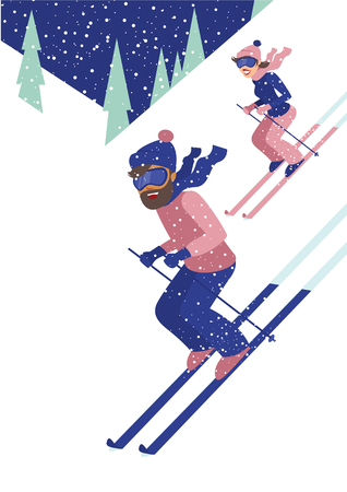 Young couple skiing on white snow mountains and pine trees on the background flat style