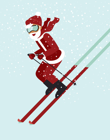Santa skiing down a mountain slope flat style vector Illustration