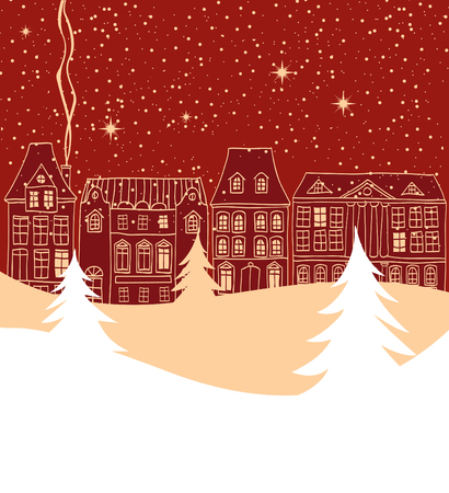 Winter city scene with old fashioned houses silhouettes and pine trees on foreground