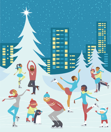 Group of people skaiting on winter ice rink in the city centre Illustration