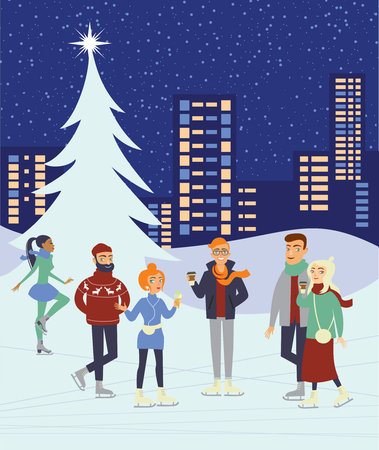Group of people skaiting on winter ice rink in the city centre Ilustrace