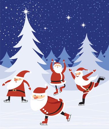 Santas skaitnig over blue Christmas forest background Illustration