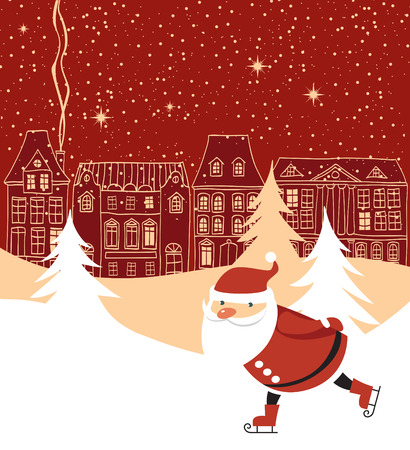 Santa Claus skaitnig over red Christmas town background