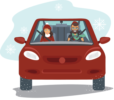 Happy couple in the red car in winter season flat vector Illustration