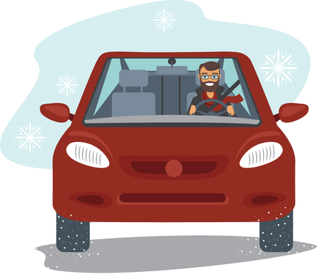 Happy young man driving the red car in winter season flat vector
