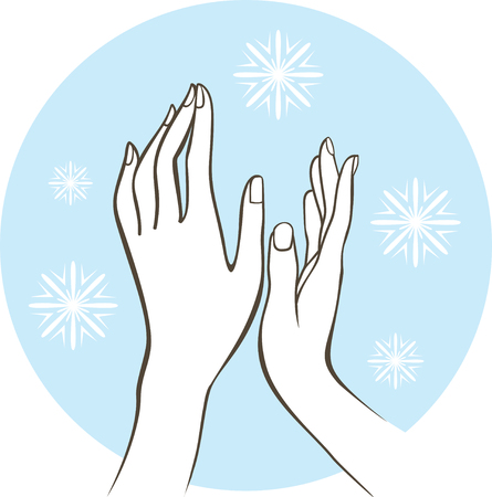 closeup contour vector drawing of female hands on the cold air. Winter skin treatment concept Çizim