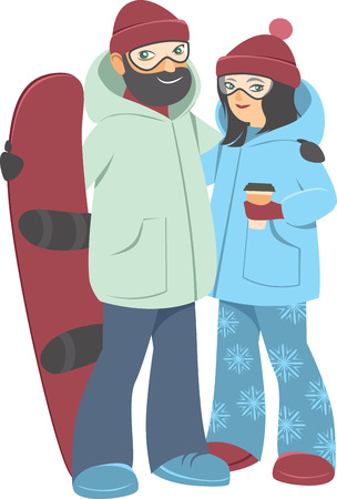Happy young adult couple with Snowboard Vector Cartoon flat Style illustration