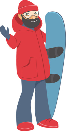 Happy young man with Snowboard Vector Cartoon flat Style illustration