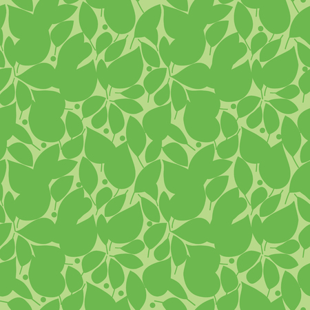 Vector seamless pattern with silhouettes of green leaves