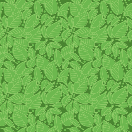 Vector seamless pattern with outline silhouettes of green leaves Çizim