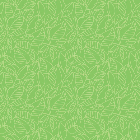Vector seamless pattern with contour silhouettes of green leaves Çizim