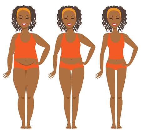 Female weight loss transformation from fat to slim Ilustrace