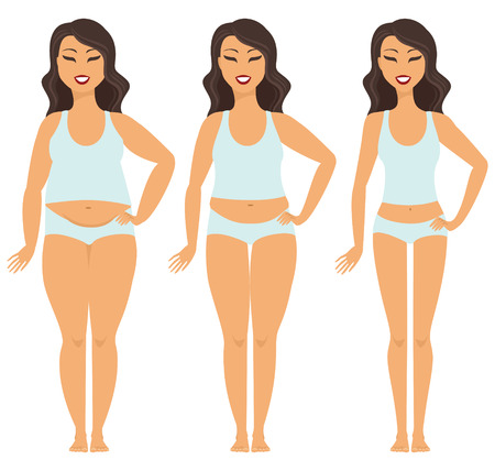Female weight loss transformation from fat to slim Illustration