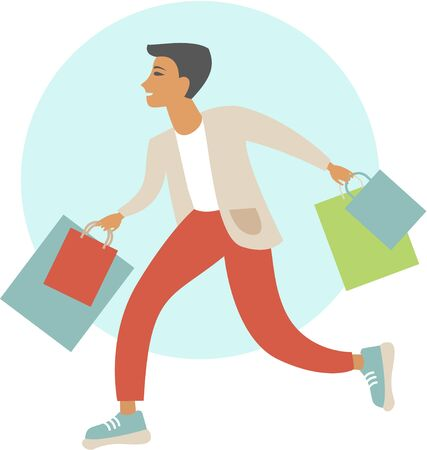 Young man with shopping bags flat vector illustration