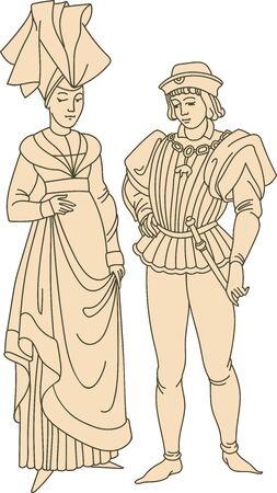 Medieval french or german couple wearing historic middle age costumes Vektoros illusztráció