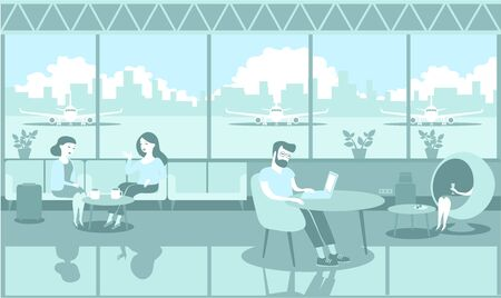 People travelers chilling in the airport lounge monochrome illustration