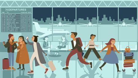 Terminal del aeropuerto abarrotado en la noche con gente esperando a la ilustración de vector de salida
