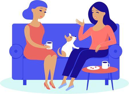 Amigos de las mujeres jóvenes que tienen una conversación acogedora bebiendo café o té en casa