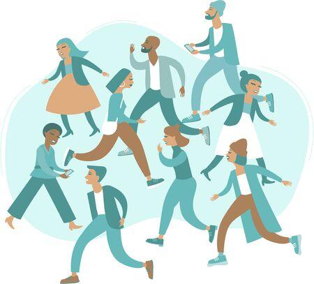 Multitud de personas en la ilustración de vector plano de estrés
