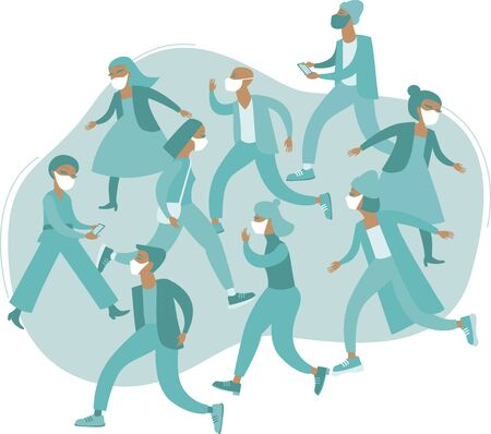 Crowd of people wearing protective medical masks.  2019-ncov  pandemia  concept. flat vector illustration