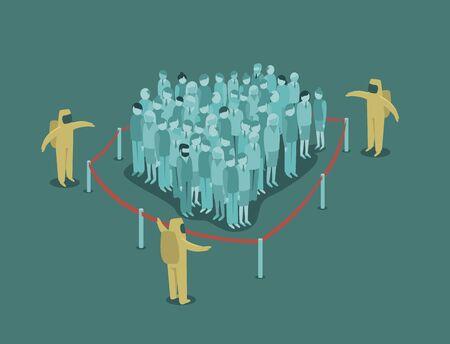 Foule de gens derrière la clôture. Concept de pandémie de virus 2019-ncov. illustration vectorielle plane