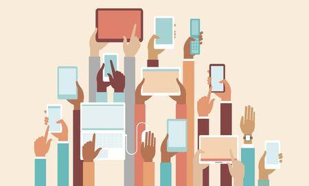 Human hands holding various smart devices copyspace flat vector illustration Vector Illustratie