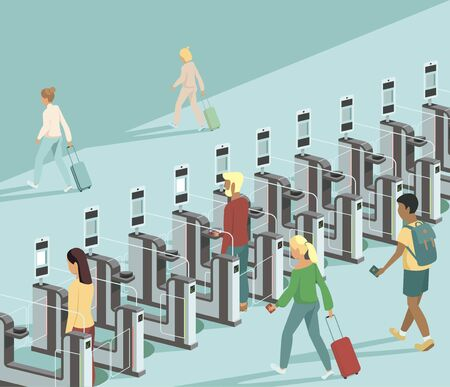 Air travellers pass through automated passport border control gates flat vector illustration