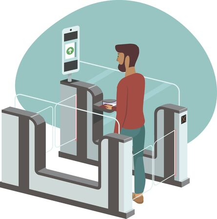 Young man passing through automated passport border control gates flat vector illustration