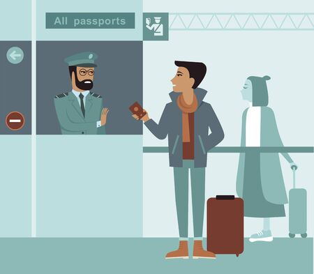 Entry is prohibited. Border control counter concept, immigration officer checking passport flat vector illustration cartoon character. Illustration
