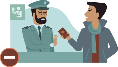 Entry is prohibited. Border control counter concept immigration officer checking passport flat vector illustration cartoon character