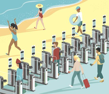people passing through electronic gates directly to the beach. Summer holiday vacation concept. Flat vector illustration