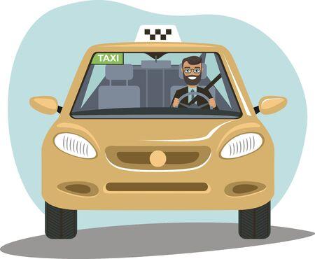 Conductor de taxi sonriente en uniforme en su coche. Servicio de taxi.