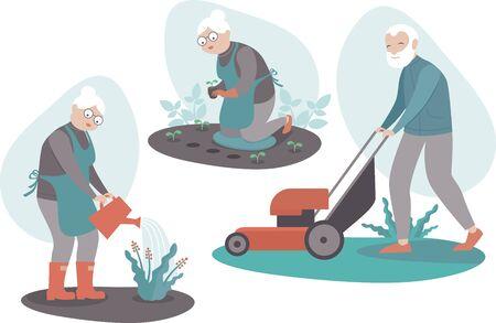 Personnes âgées jardinant des personnages masculins et féminins âgés Planter des semis, récolter, arroser des fleurs, couper l'herbe. Mode de vie actif des hommes et des femmes à la retraite. Illustration vectorielle plane de dessin animé Vecteurs