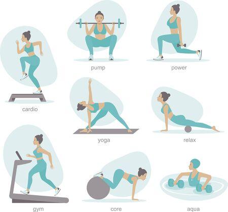 Various gym activities set. Exercises in gym, cardio, treadmill, body lifting, aqua aerobics.