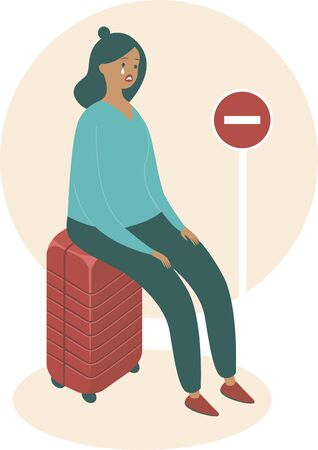 Cancelled flights because of COVID-19 pandemic concept.   Upset woman sitting on her suitcase.
