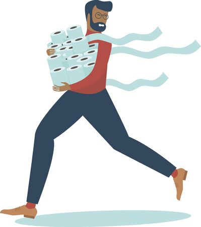 Man in panic shopping in a supermaket grabs toilet paper in bulk due to coronavirus crisis. covid-19  pandemic concept.