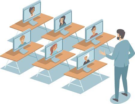 Online education duringquarantine COVID-19 coronavirus disease outbreak concept flat vector illustration isolated on white