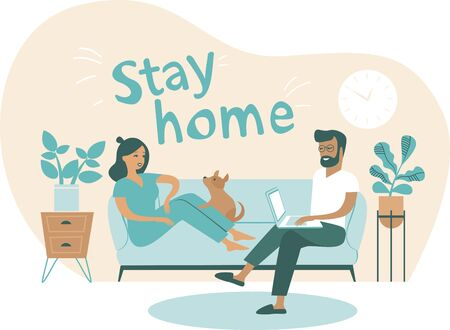 Coronavirus covid-19 self quarantine concept. Family working from home. Man and woman sitting on couch and working on laptop.