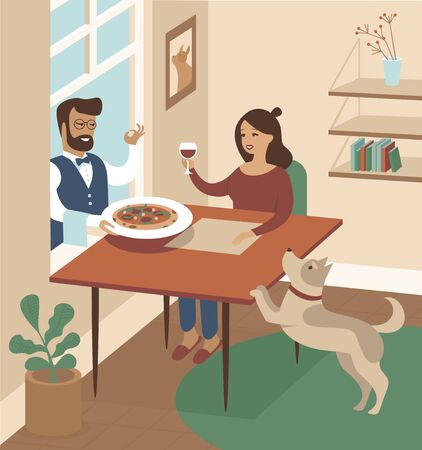 Waiter deliver hot pizza through the window direct to the kitchen table. Happy woman drinking wine. Ilustración de vector