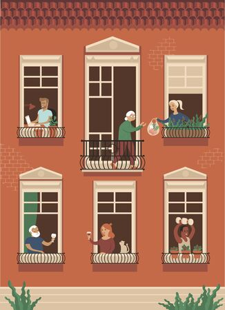 Neighbor people life through open windows. Housemates working, drinking wine, doing sport exercisessupports elderly people during self isolation.