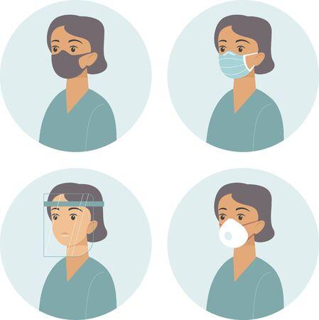Différents types d'équipements de protection médicale pour le visage. Concept de vecteur plat pour l'épidémie de coronavirus COVID-19